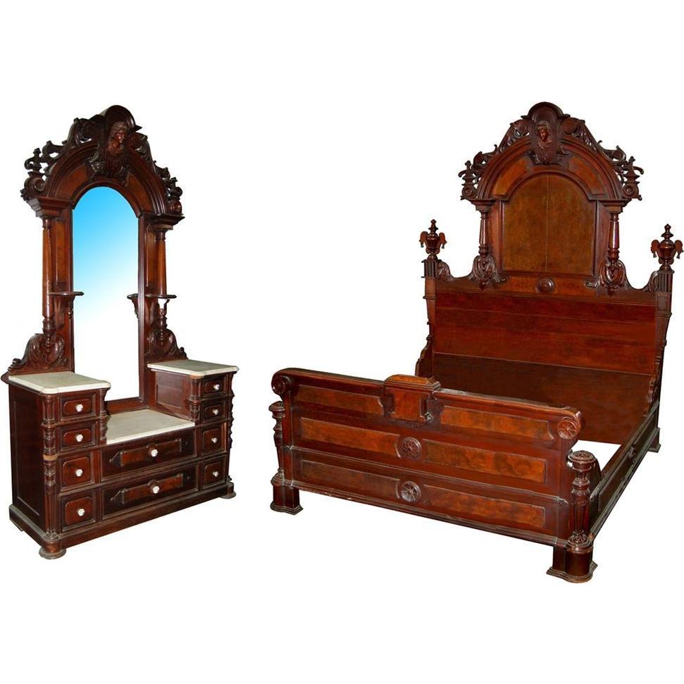 5877 Two-Piece Renaissance Revival Bedset By Thomas Brooks