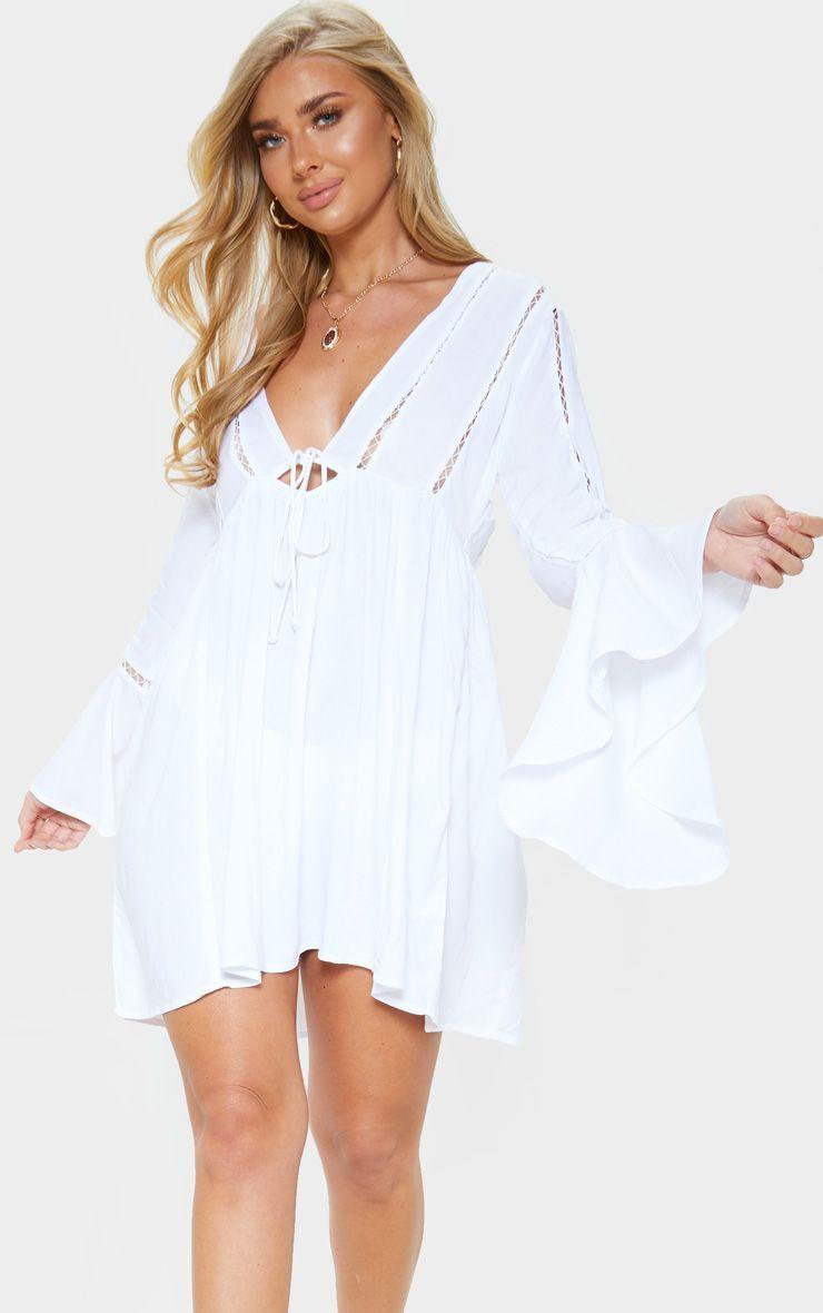 White Tie Front Frill Sleeve Beach Dress White Tie Beach Dress Frill Sleeves [ 1180 x 740 Pixel ]
