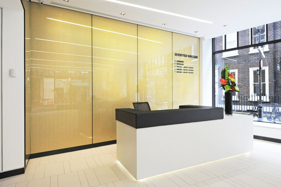 wardour street reception designed with architectural metal and glass