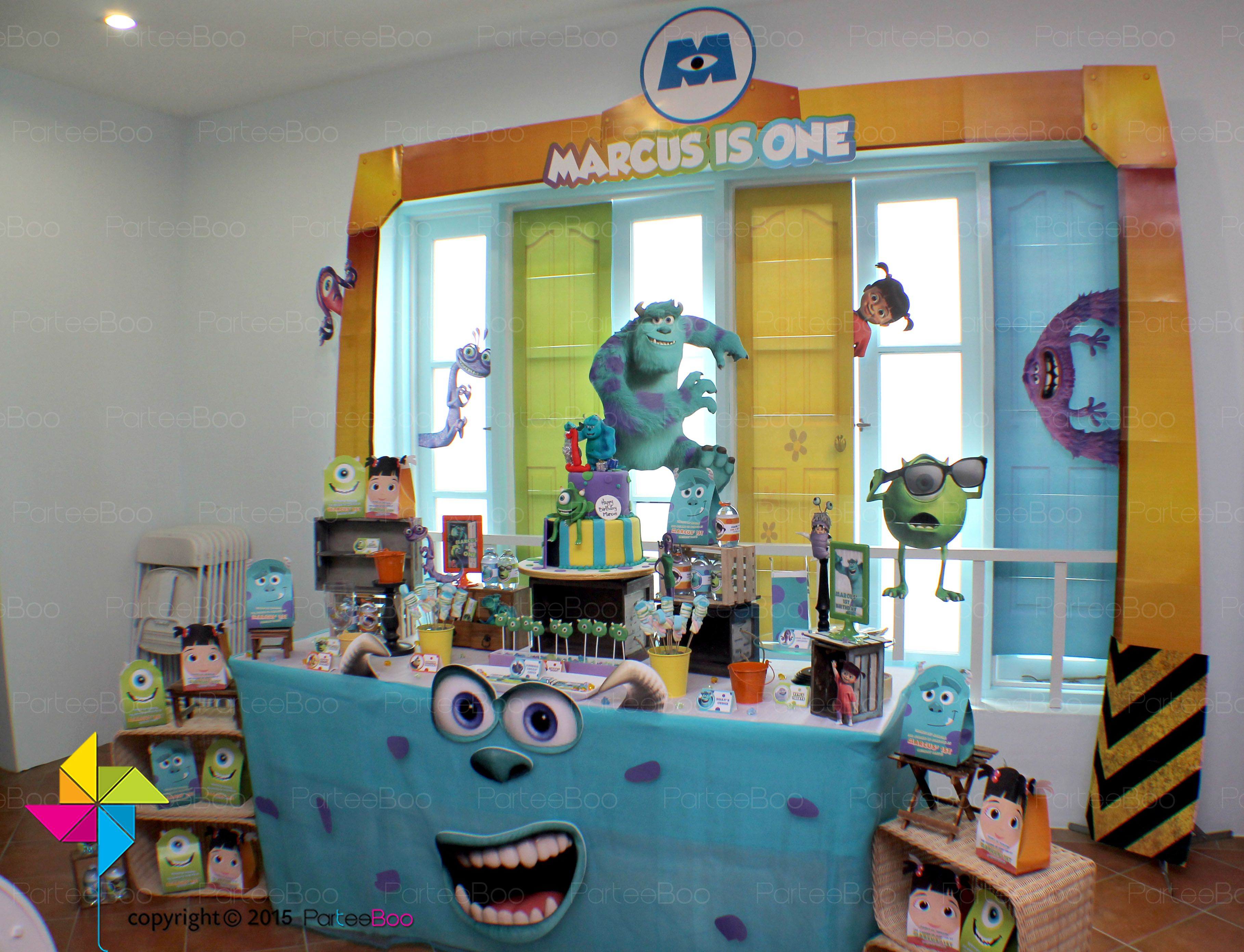 A scary 1st birthday party with a monsters inc theme