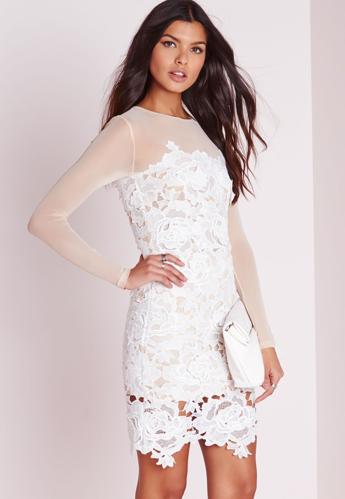 110e5abef4 Missguided - Floral Lace Mini Dress Nude