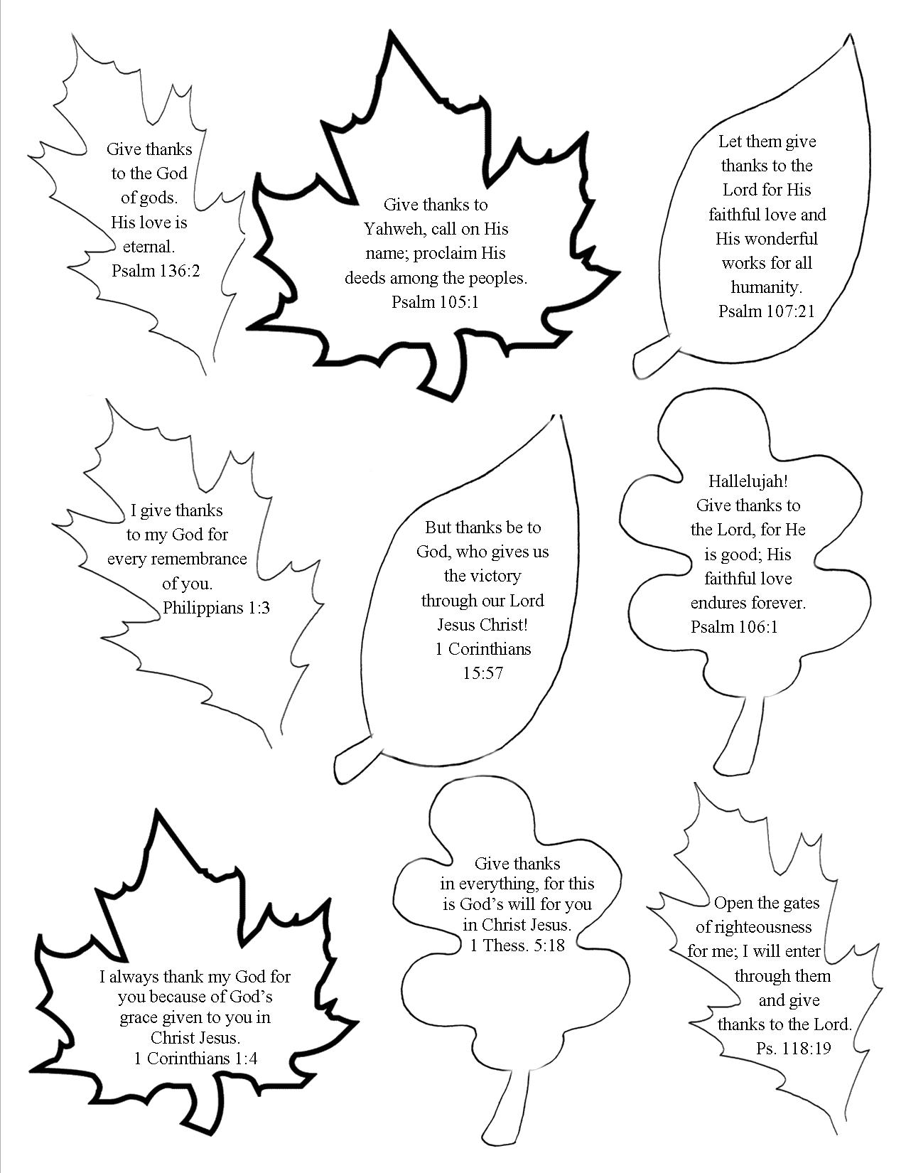 Thanksgiving Scripture Leaves (2b) | thanksgiving | Pinterest ...