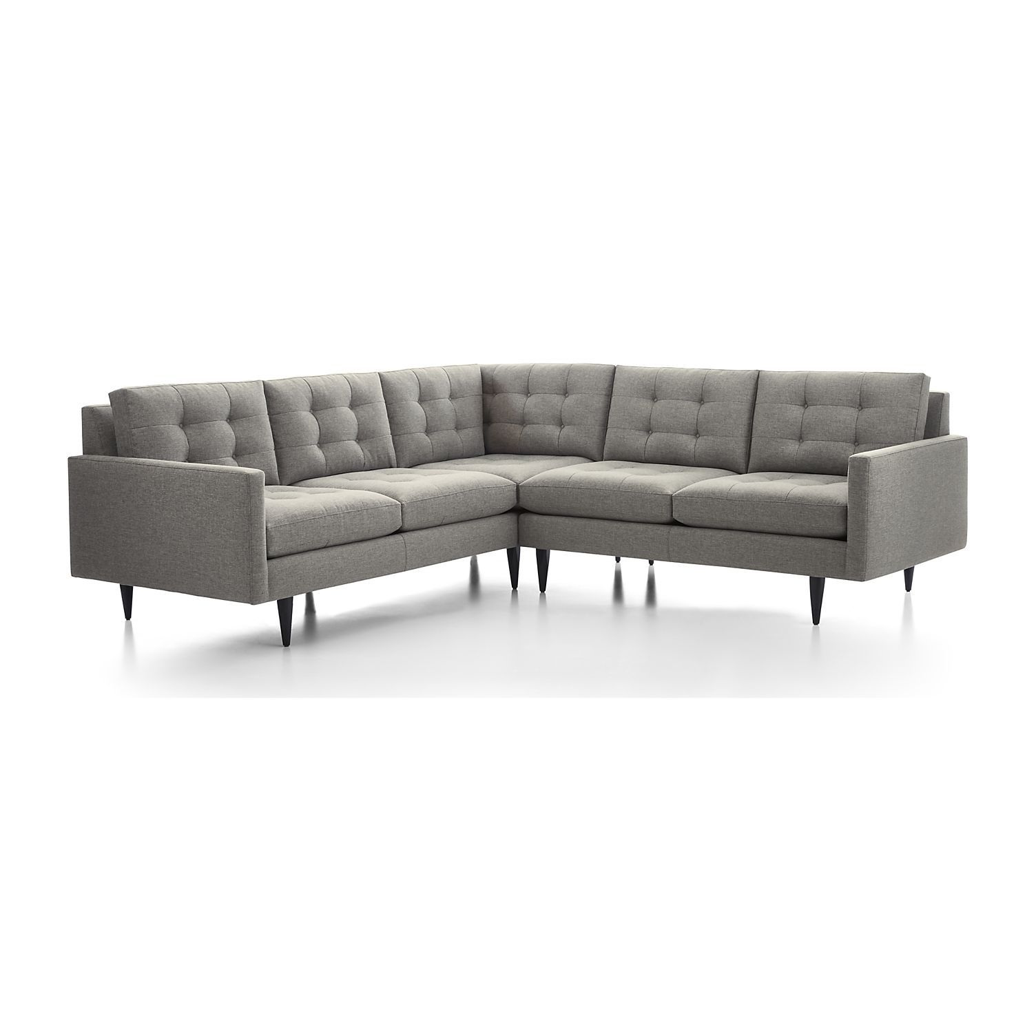 Shop petrie 2 piece corner sectional sofa now a crate and barrel classic its pure 1960s aesthetic is scaled deep so you can sit firm and upright