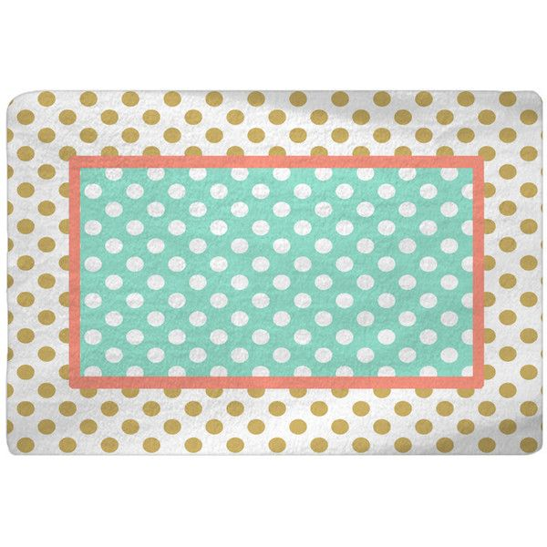 Heart Dot Round Rug: Gold-White-Coral-Mint Polka Dots Nursery Fuzzy Area Rug