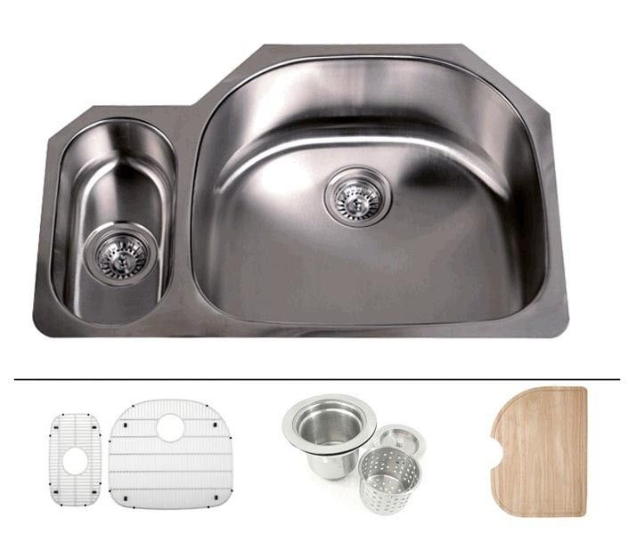32 Inch Stainless Steel Undermount 20 80 Double D Bowl Offset Kitchen Sink 16 Gauge Free Accessories Steel Kitchen Sink Stainless Steel Kitchen Sink