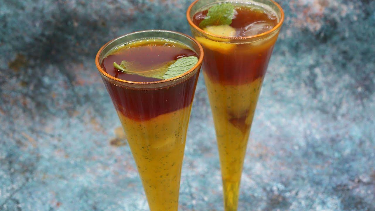 شاي مثلج ايس تي بالمانجو مشروب صيفي بارد ومنعش Glassware Tableware Glass