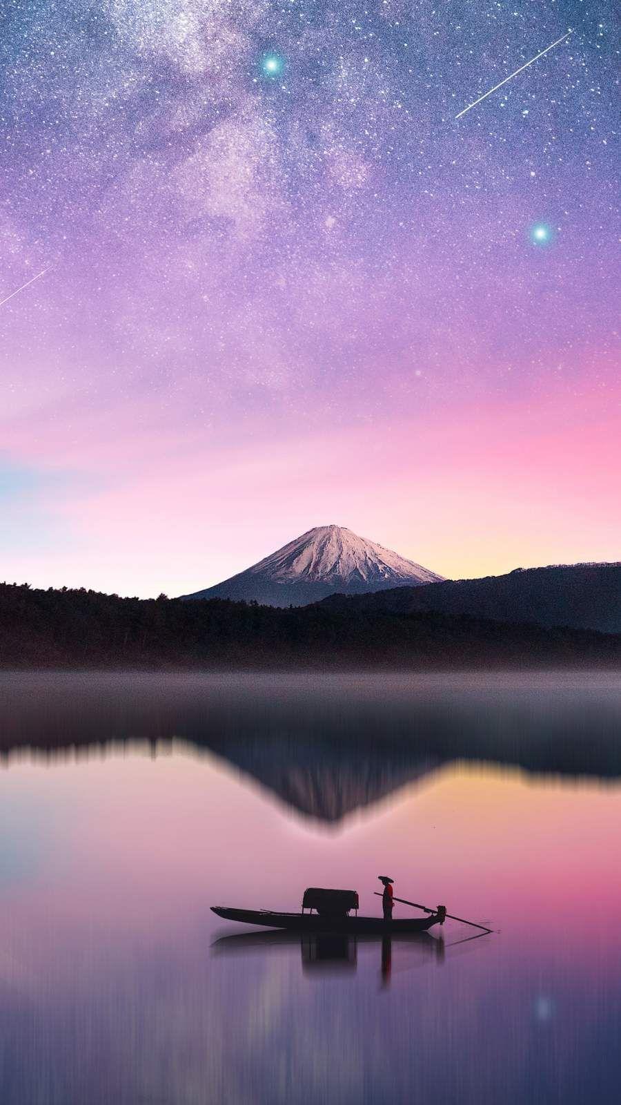 Milky Way Mount Fuji IPhone Wallpaper in 2020 4k