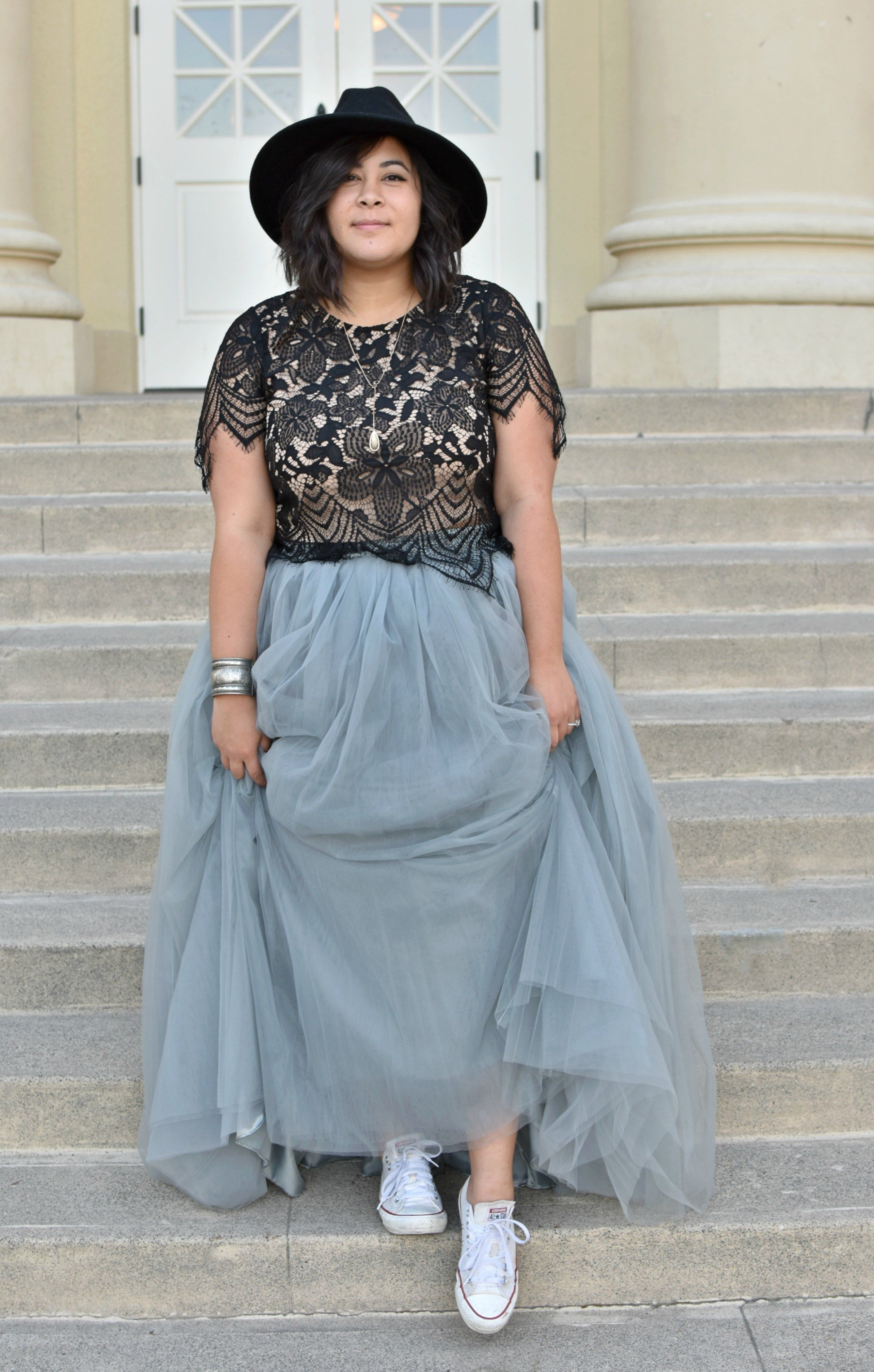 a plus size cinderella story in tulle & converse; ootd   long tutu
