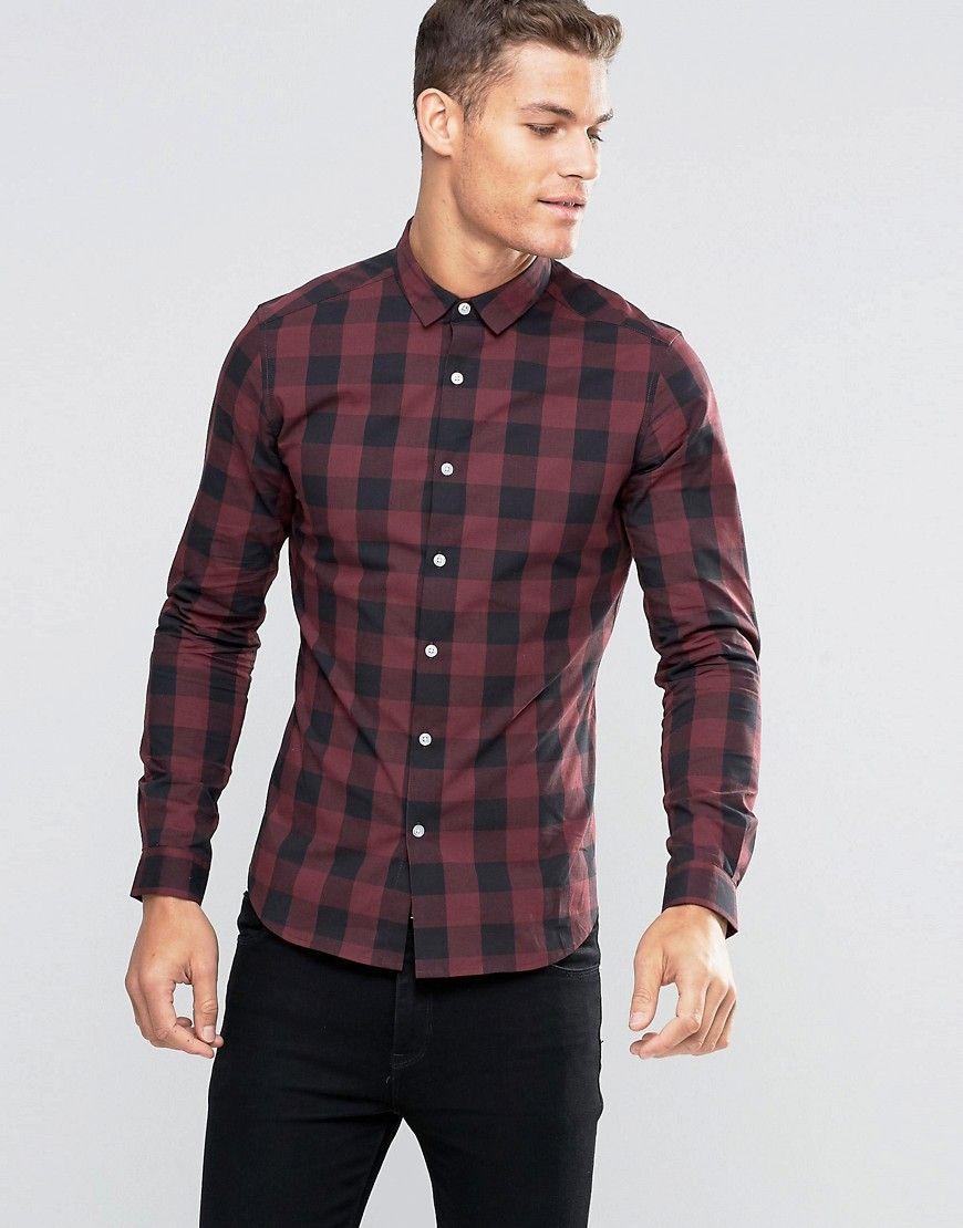 ASOS Skinny Buffalo Check Shirt In Burgundy at asos.com. Men's ShirtsPlaid  ...
