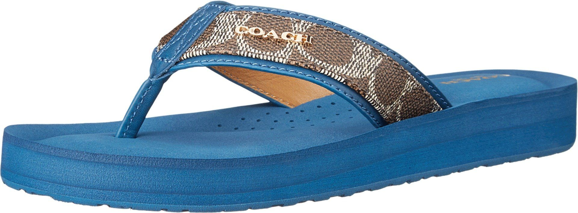 Coach Judy Women's Thong Sandals (7, Black/Brown/Denim).