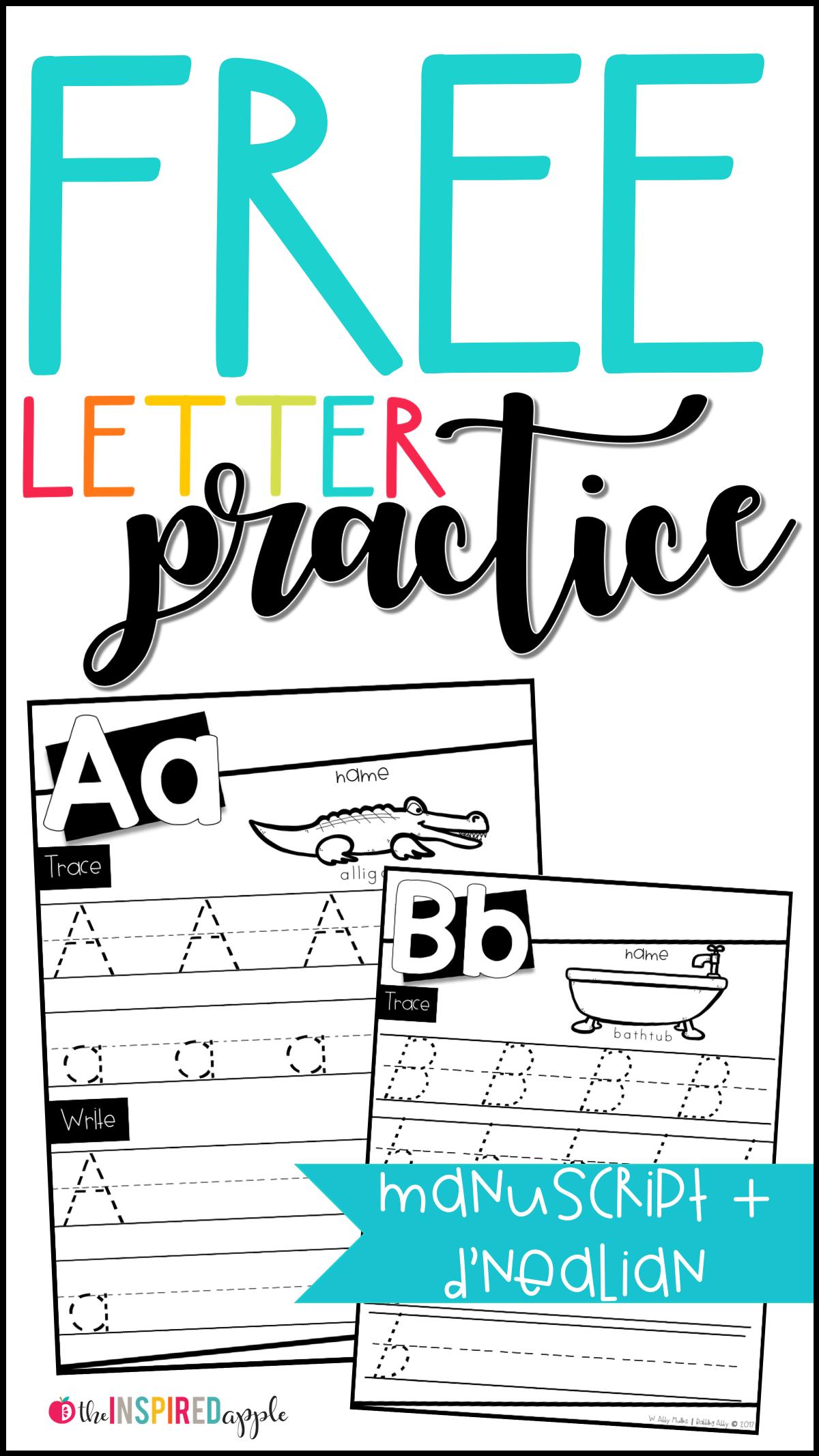 Free Letter Practice Worksheets Worksheets Kindergarten And