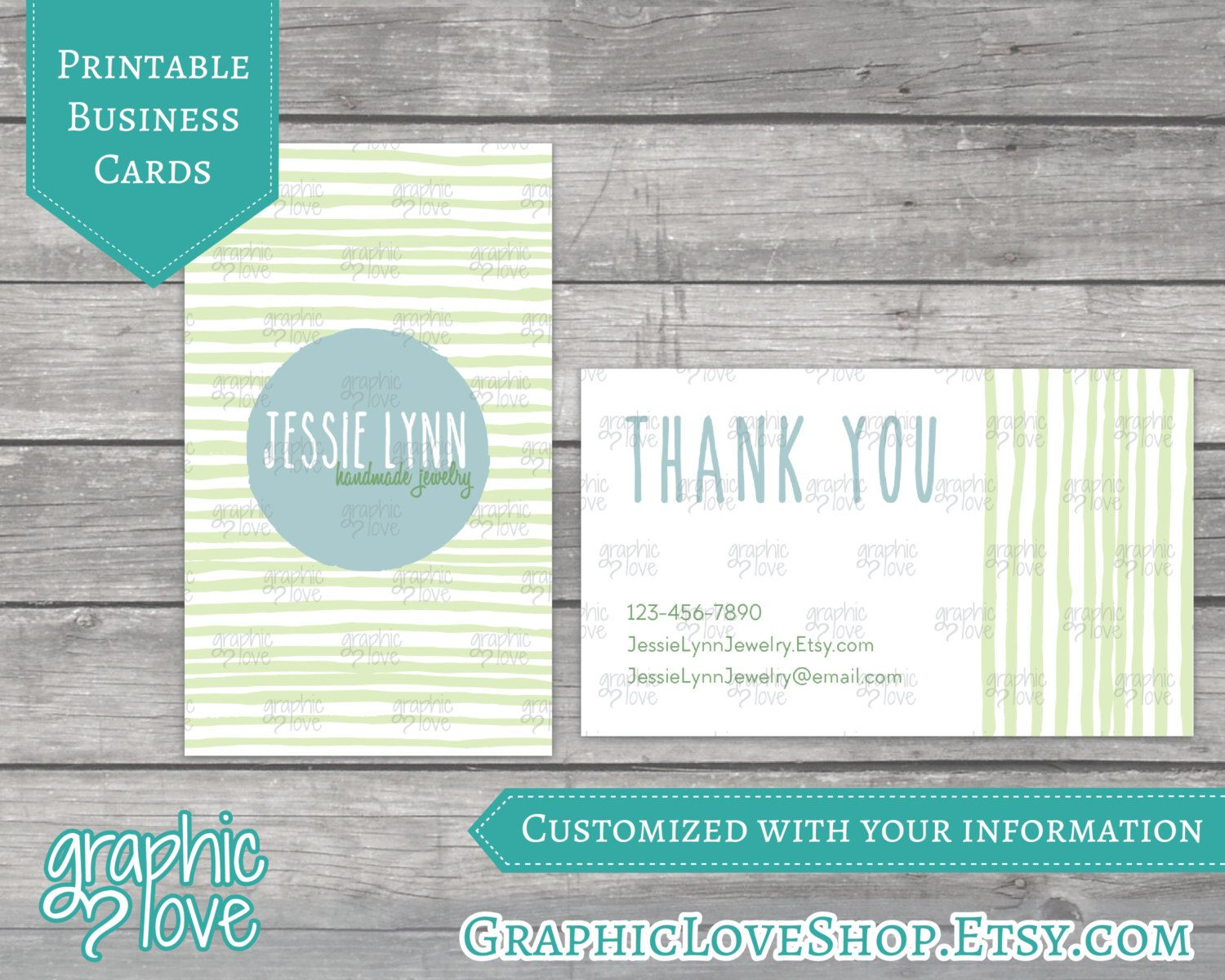Natural earthy handmade thank you printable double sided