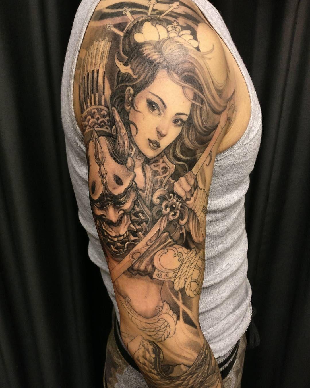David Hoang On Instagram Back To Back Tiger Tattoo: More Progress On Evan's Geisha Warrior Sleeve. #chronicink
