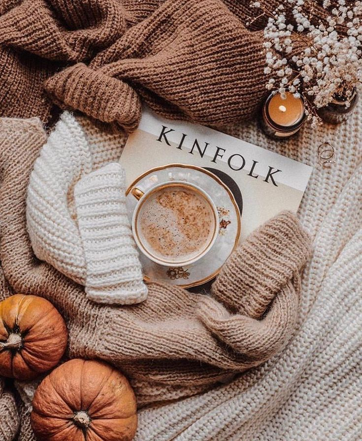 Photo of Kinfolk magazine with rough camel knit sweater and pumpkins and candle come in …