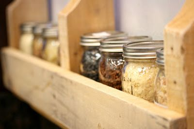 Food Storage Friday 26 Making Mason Jar Shelves Out Of Pallets Mason Jar Shelf Mason Jars Wood Pallet Projects