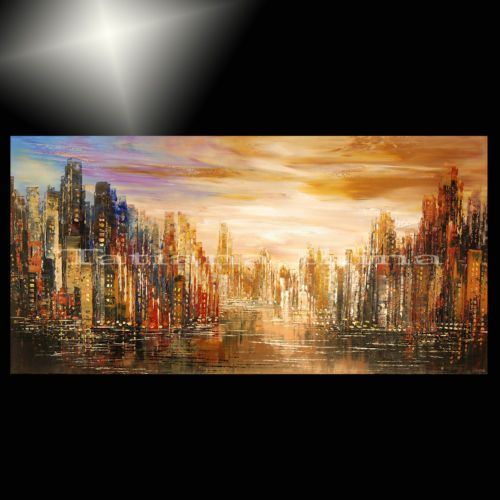 giclee-painting-of-ORIGINAL-abstract-city-skyline-large-sunset ...
