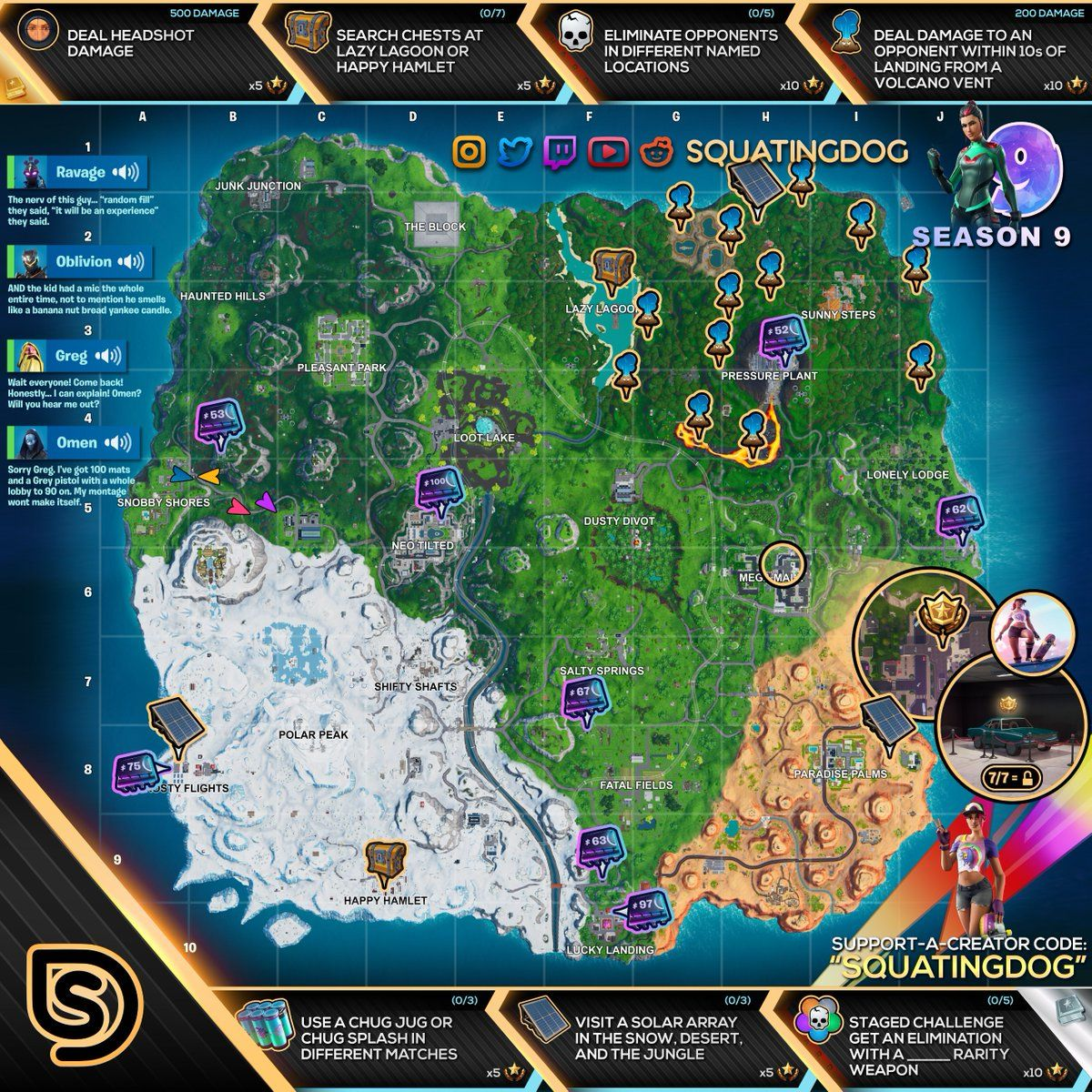 Fortnite Cheat Sheet Map For Season 9 Week 9 Challenges Locations Xbox One Francotirador Desafios