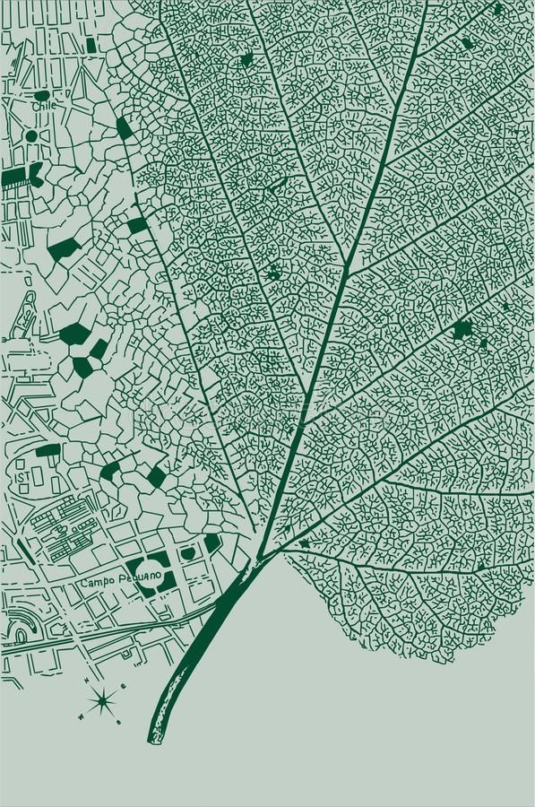Leaf and city stock vector. Illustration of growth