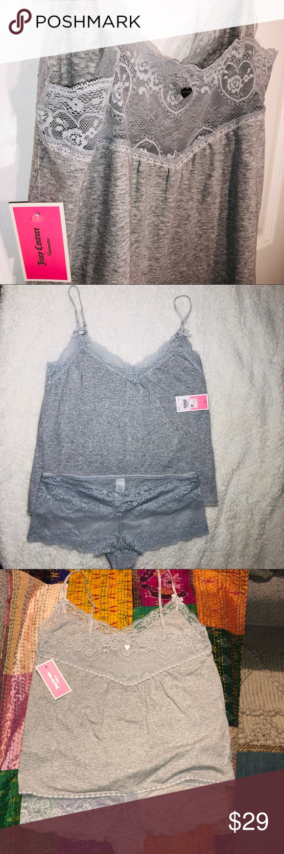 f837dcb80fb Juicy Couture gray camisole   undies set NWT. Bought and never worn. Sweet  and