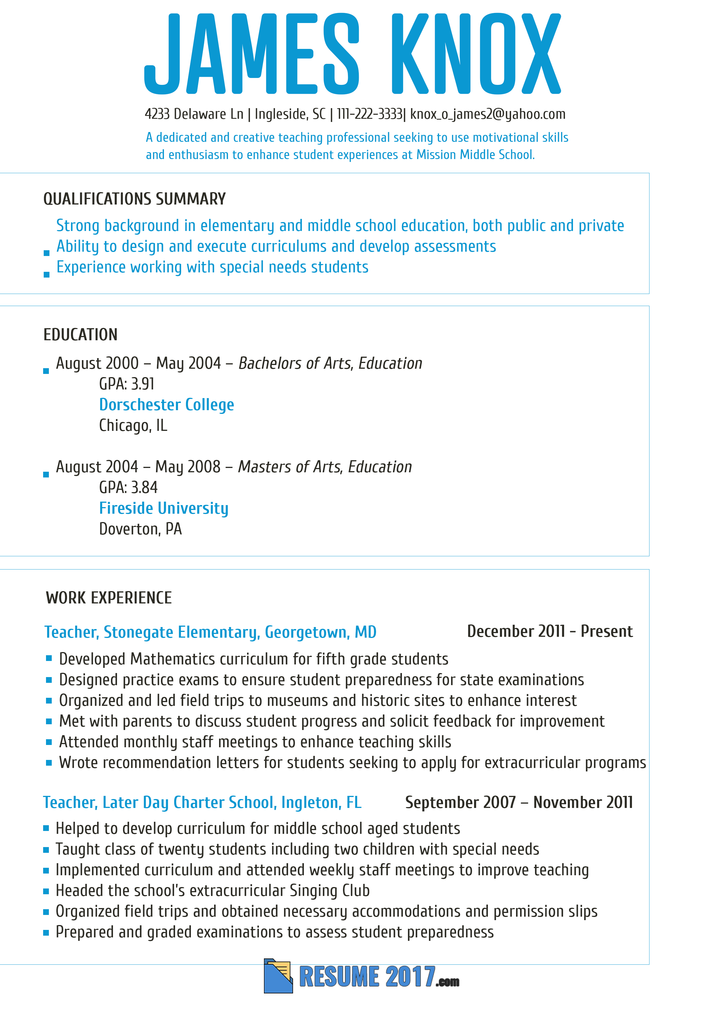 Great Teacher Resume Template 2018 That Will Make Your Resume Leave A  Positive Impact. Chekc This Site And Get More Samples Like This ...