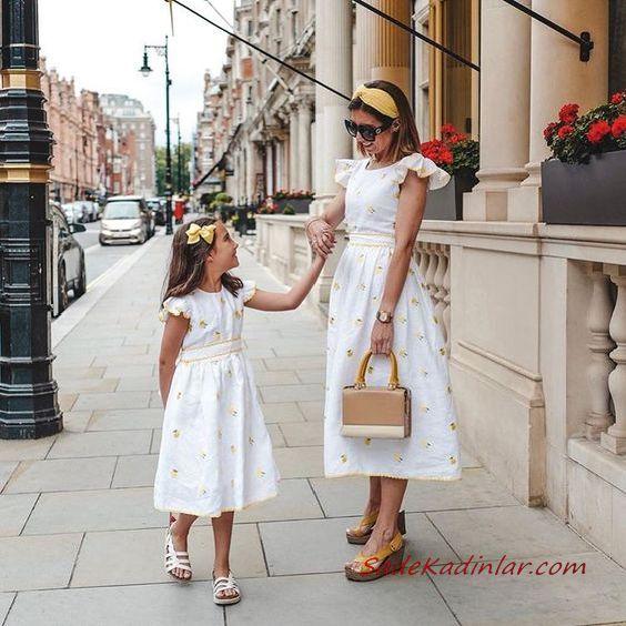 2020 Anne Kız Elbise ve Kıyafet Kombinleri Beyaz Midi Kısa Kollu Çiçek Desenli Elbise | SadeKadınlar, Kıyafet Kombinleri #moda #fashion #fashionblogger #damenmode #mode #damenoutfits #outfits #kombin #annekız #annekızelbiseleri #annekızkıyafetleri #annebebekkombin #kombinleri #kombinönerileri #outfitsoftheday #girl #kıyafetkombinleri #şıkkombinler