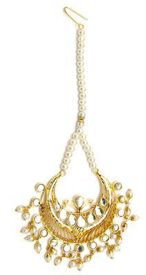 Kundan Maang Tikka with Pearls and Gold Plating
