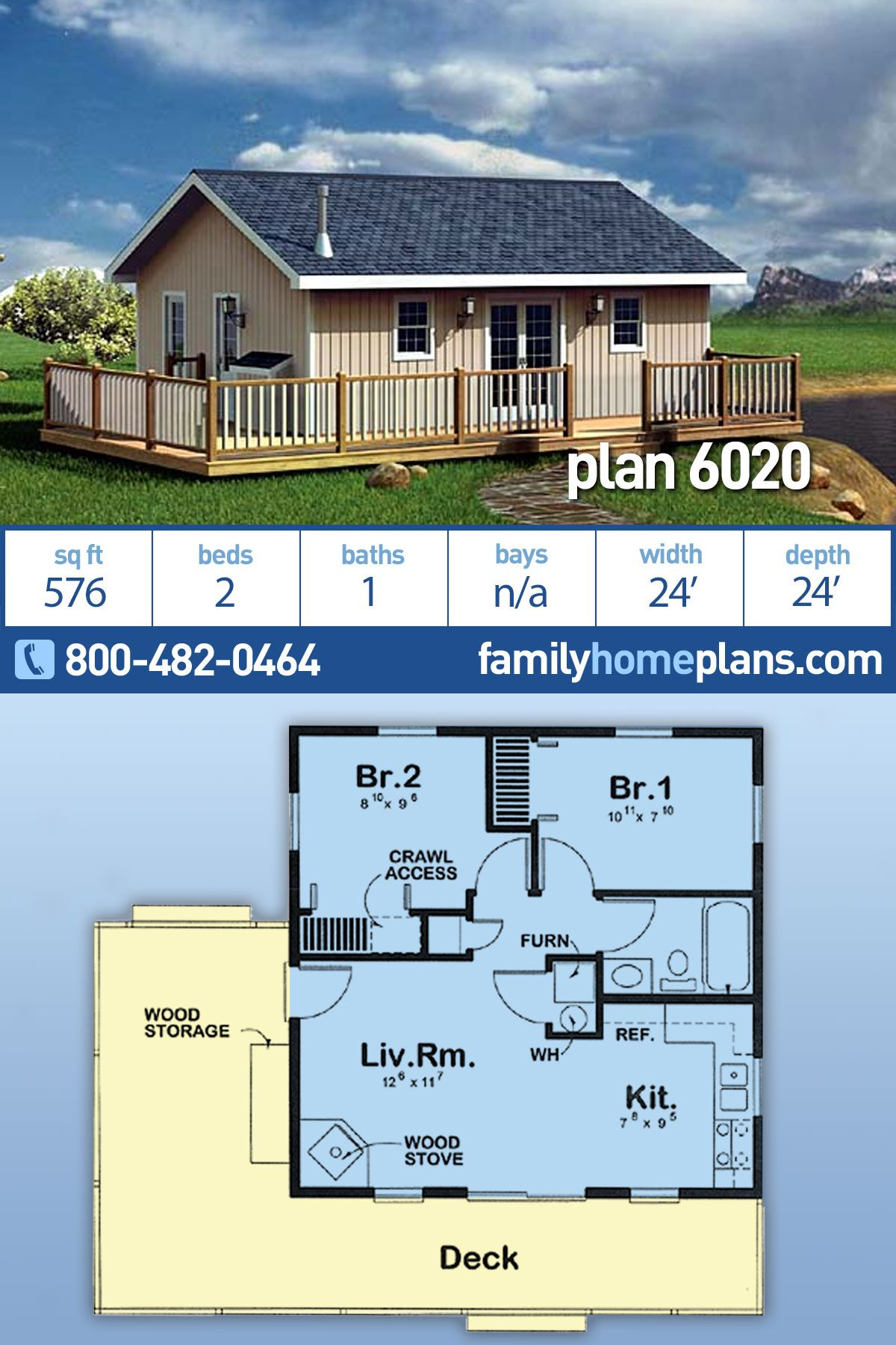 Traditional Style House Plan 6020 With 2 Bed 1 Bath Small House Design Plans My House Plans Small House Floor Plans