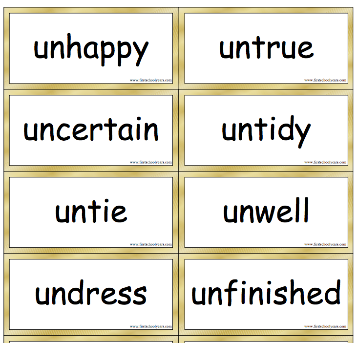 Prefix Un Word cards with definitions from First School Unit 1 – Prefix Un Worksheets
