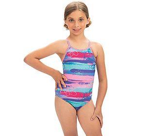Dolfin Uglies Girls' Surf's Up Keyhole Back 1-Piece Swimsuit — QVC.com #surfgirls