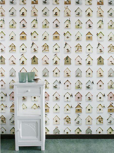 Papel pintado casita p jaros telas papel papeles for Retales papel pintado