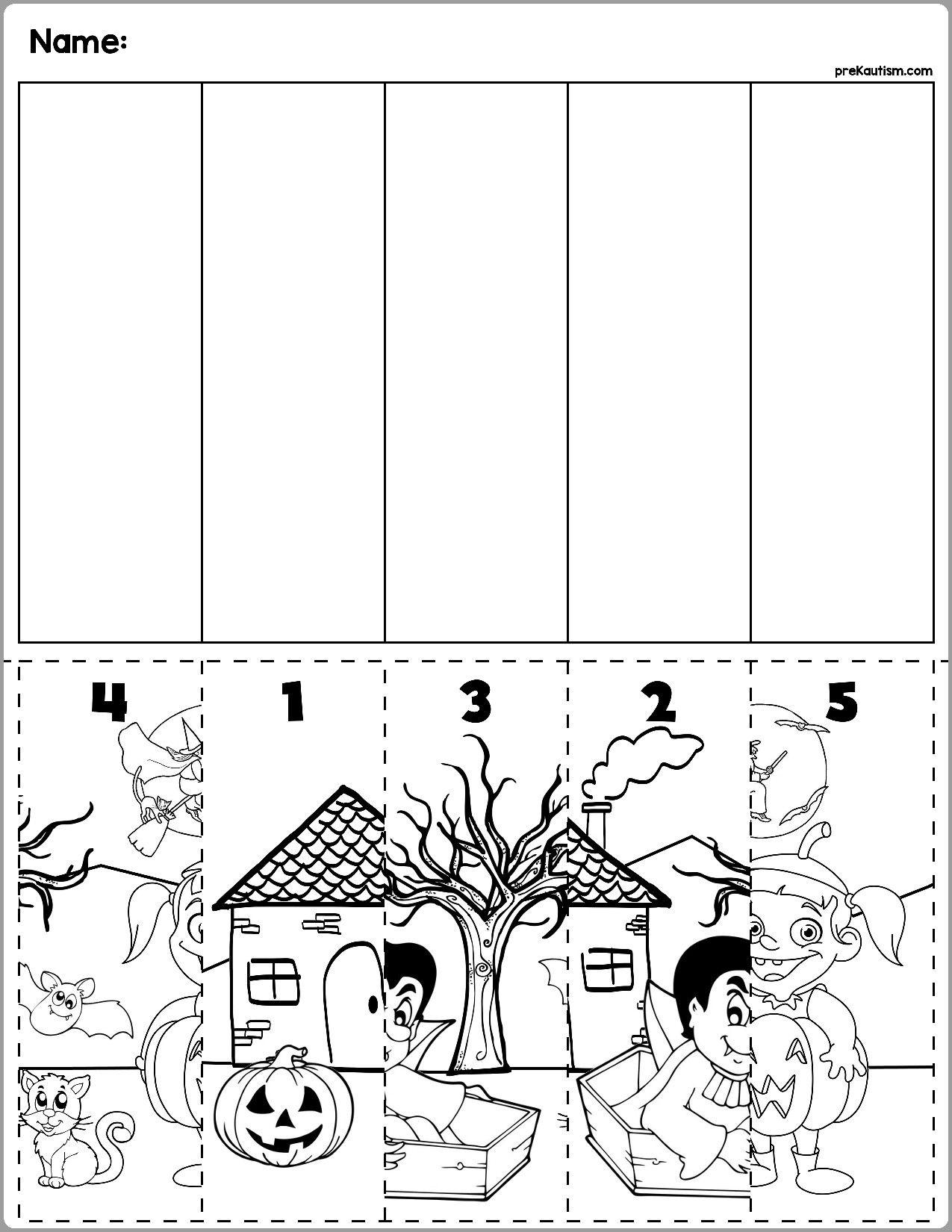 5 Maths Worksheets Kindergarten Preschool Halloween Scene
