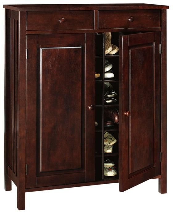 "Mission-Style 33""W Shoe Storage With Drawer"