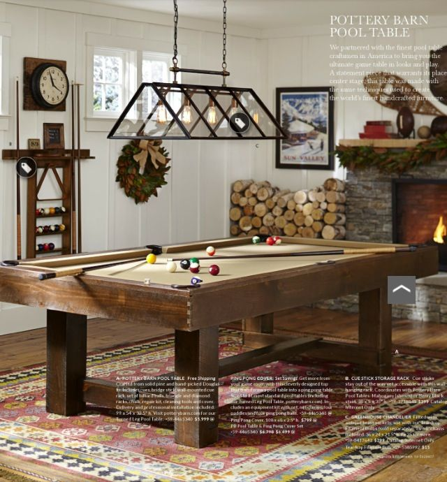 Pottery Barn Pool Table And Greenhouse Chandelier
