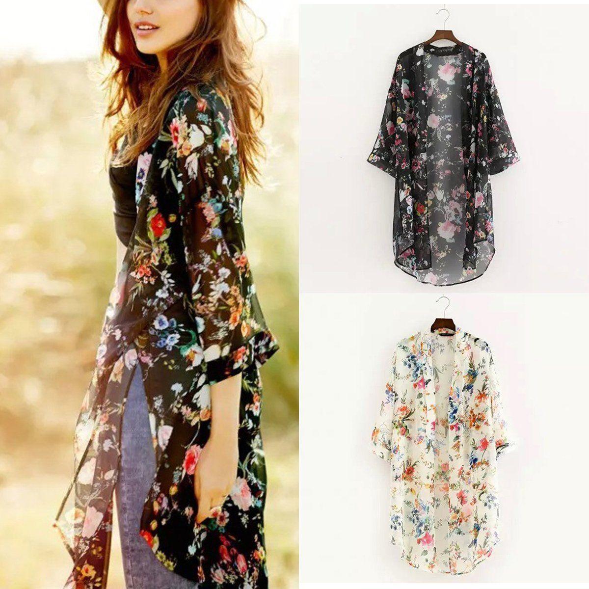 2837e65d9 Boho Women Summer Chiffon Floral Loose Shawl Kimono Cardigan Tops Jacket  Blouse