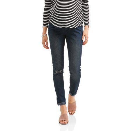 9a49e22390785 DO NOT Publish - Oh Mamma Maternity Full Panel Super Soft Destructed Skinny  Boyfriend Crop Jeans, Gray