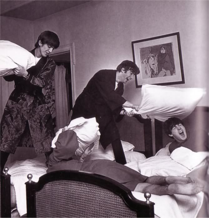 Image result for beatles pillow fight