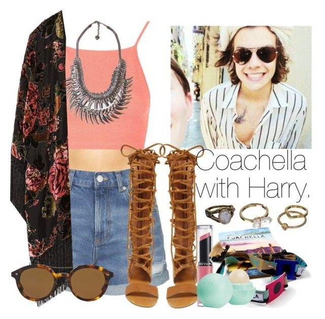 """Coachella with Harry."" by welove1 ❤ liked on Polyvore featuring Marie Meili, Topshop, Free People, Zara, Giorgio Armani, Revlon, Eos, Mudd, women's clothing and women"