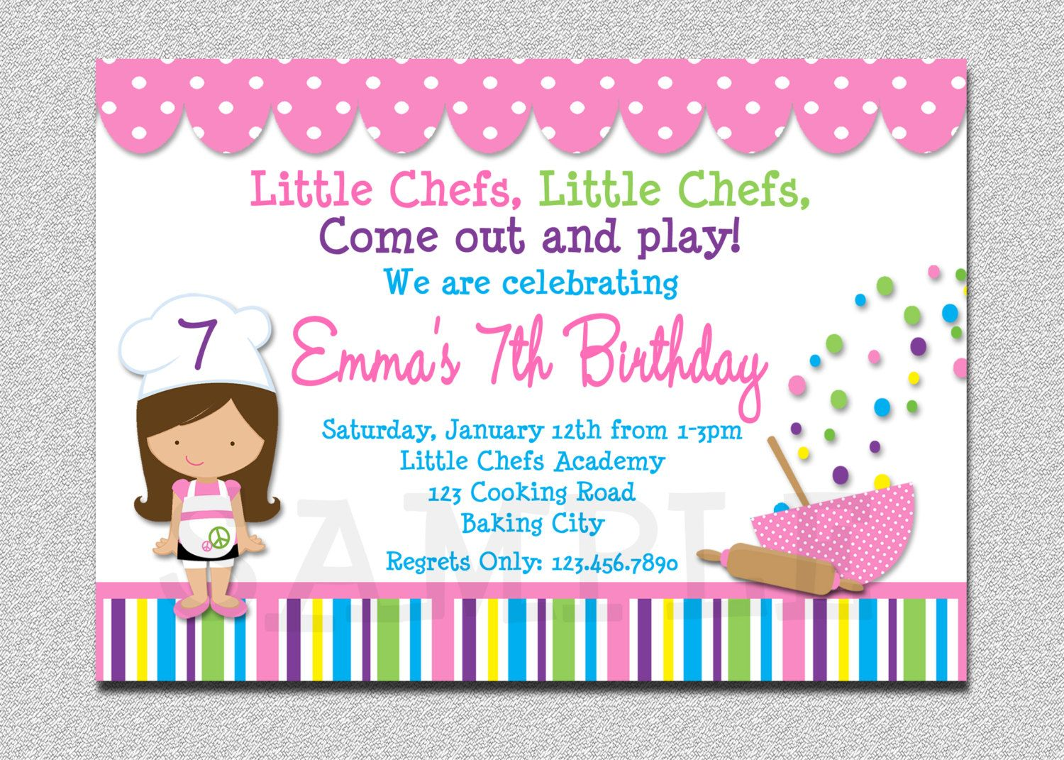 Baking birthday party invitations my birthday pinterest baking kids cooking birthday party invitation cooking baking birthday baking party invite with recipe cards front and back designs stopboris Choice Image