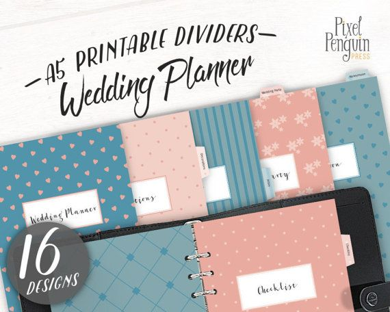 A5 Wedding Planner Printable, Filofax A5 Divider, Wedding Planner - research plan