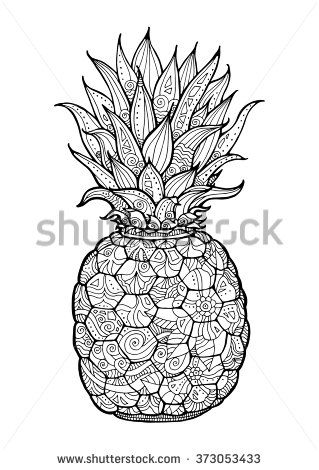 Ananas Pineapple Exotic Fruit With Floral Pattern