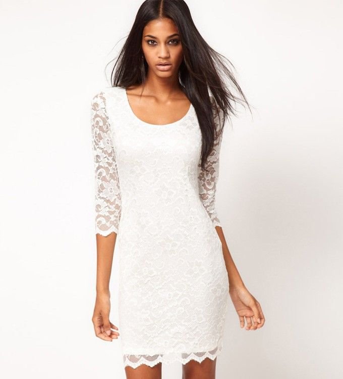 Round Neck White Lace Dress | Pinterest | White dresses cheap, White ...