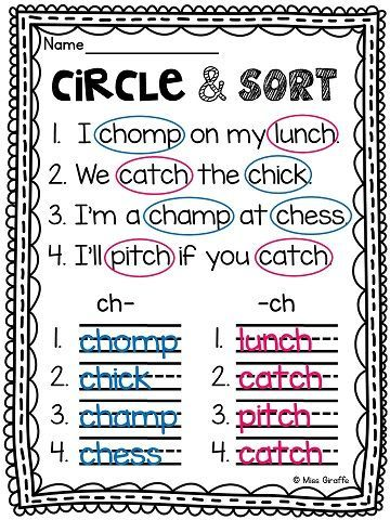 Digraphs: CH Worksheets and Activities {NO PREP} | Phonics ...