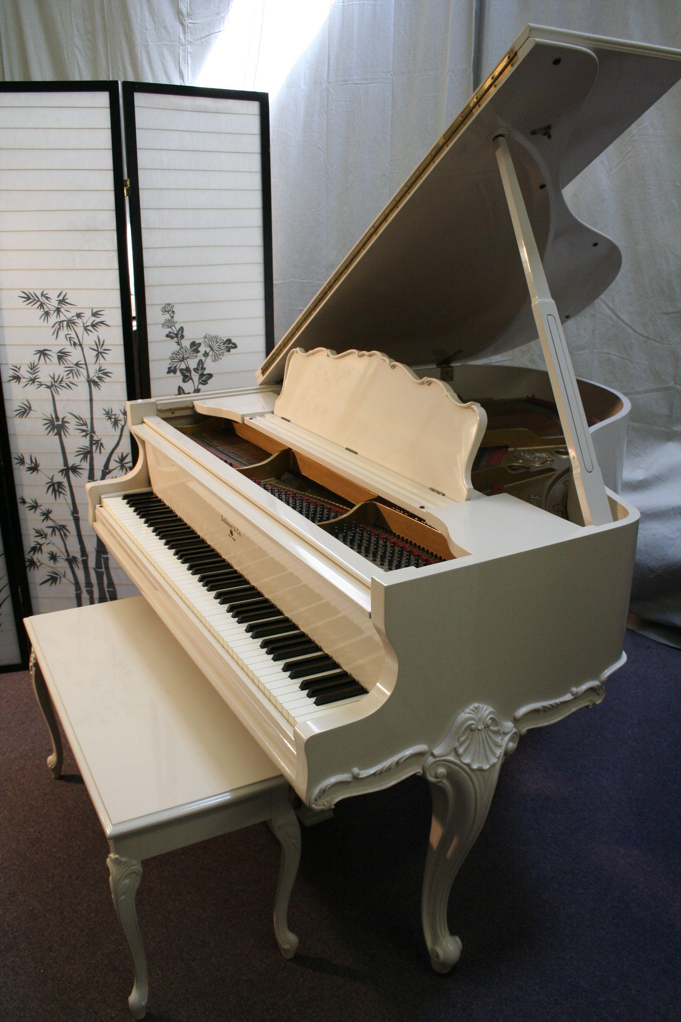 Art Case Sohmer Baby Grand Piano Queen Anne Legs White