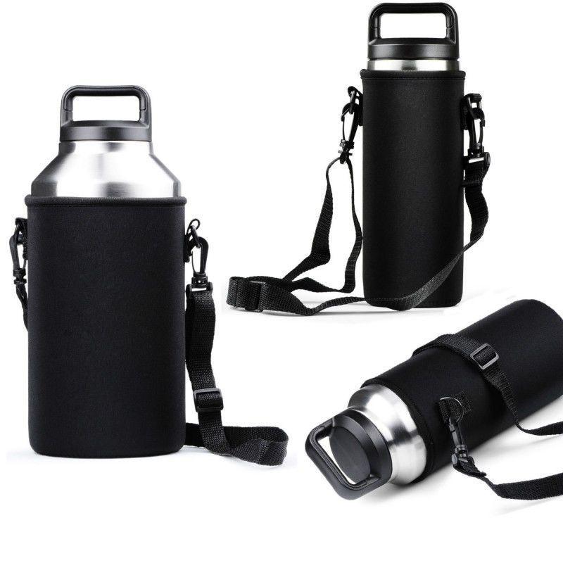 Large Water Bottle Carrier Bag Black 64 Oz Flask Holder Shoulder Strap Walking
