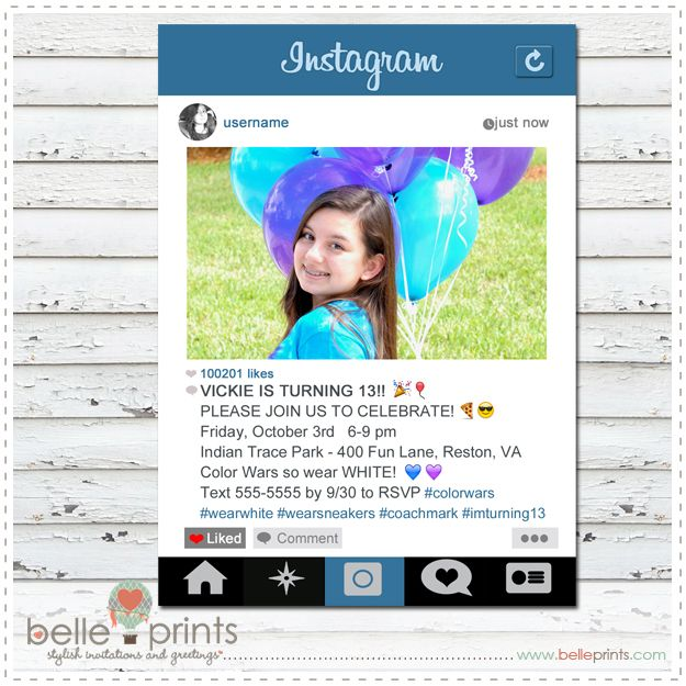 Custom Instagram Theme Invitation by belleprintscom PhotoTIPS