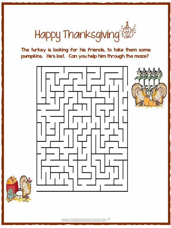 Thanksgiving Printable Mazes Free Printable Thanksgiving Maze