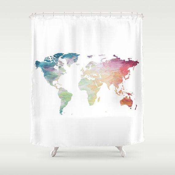 Welt Karte Duschvorhang Duschvorhang bemalte von OlaHolaHolaBaby - best of world map bathroom decor