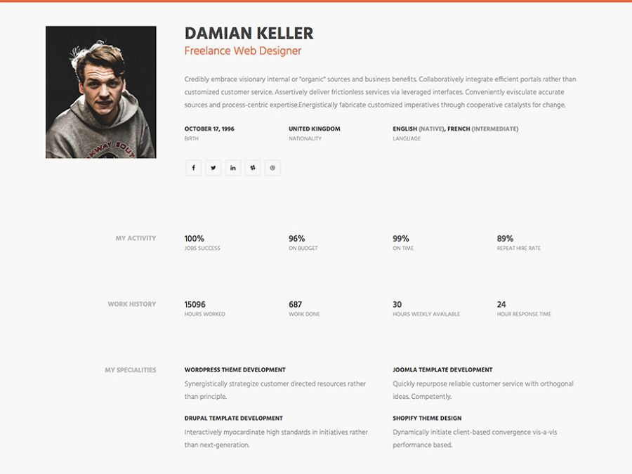 Myprofile One Page Simple Html Resume Website Template Resume Template Free Online Resume Template Resume Design Template