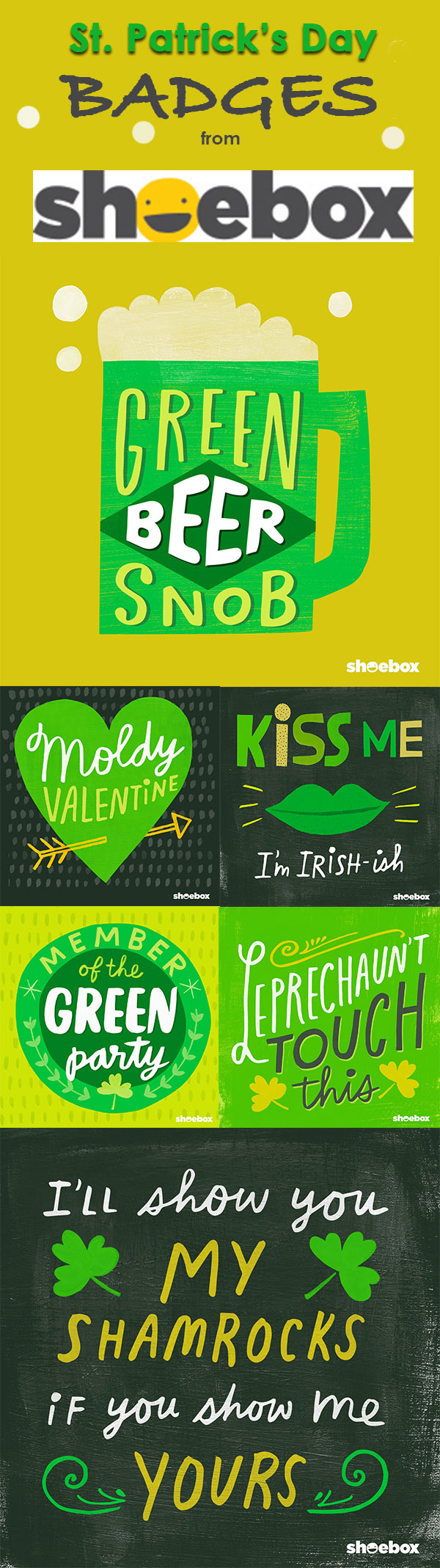 Liven up your St. Patrick's Day party with these FREE printables from Shoebox!