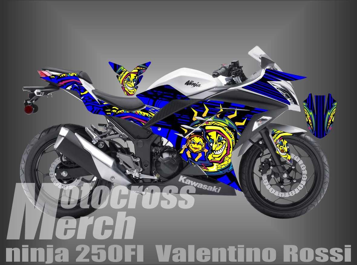 Design sticker ninja 250 - Decal Kawasaki Ninja 250 Fi Valentino Rossi Sun Moon